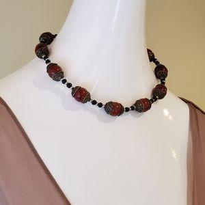Black | Red Vintage Beaded Necklace